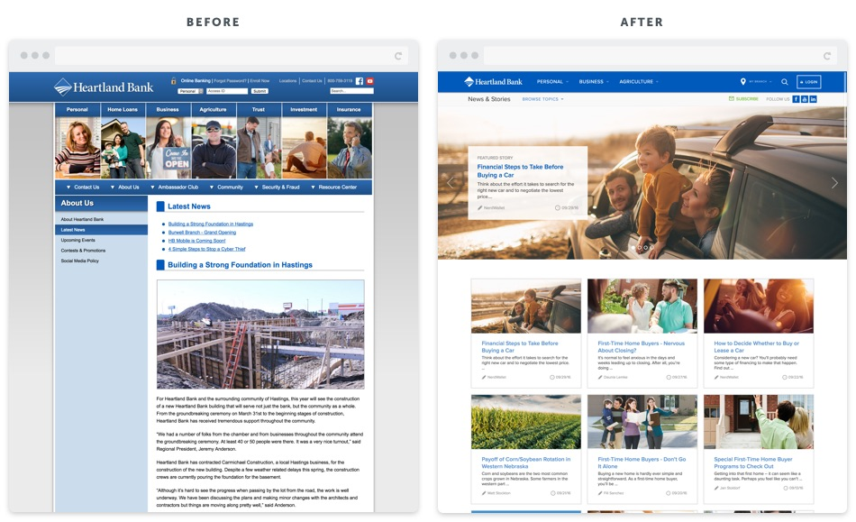 Heartland Bank Blog Redesign Before and After