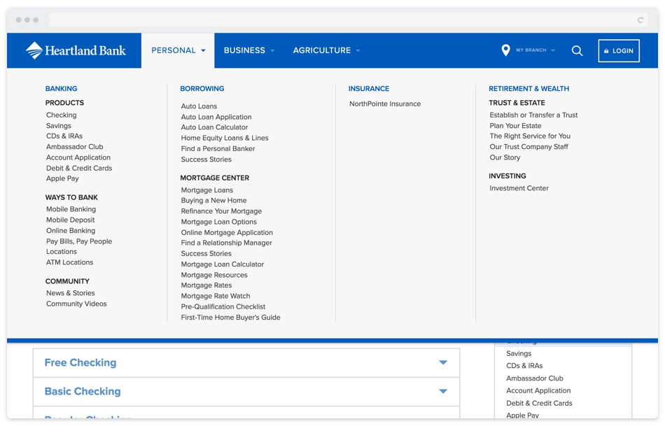 A newly organized mega-menu was used for Heartland Bank's navigation