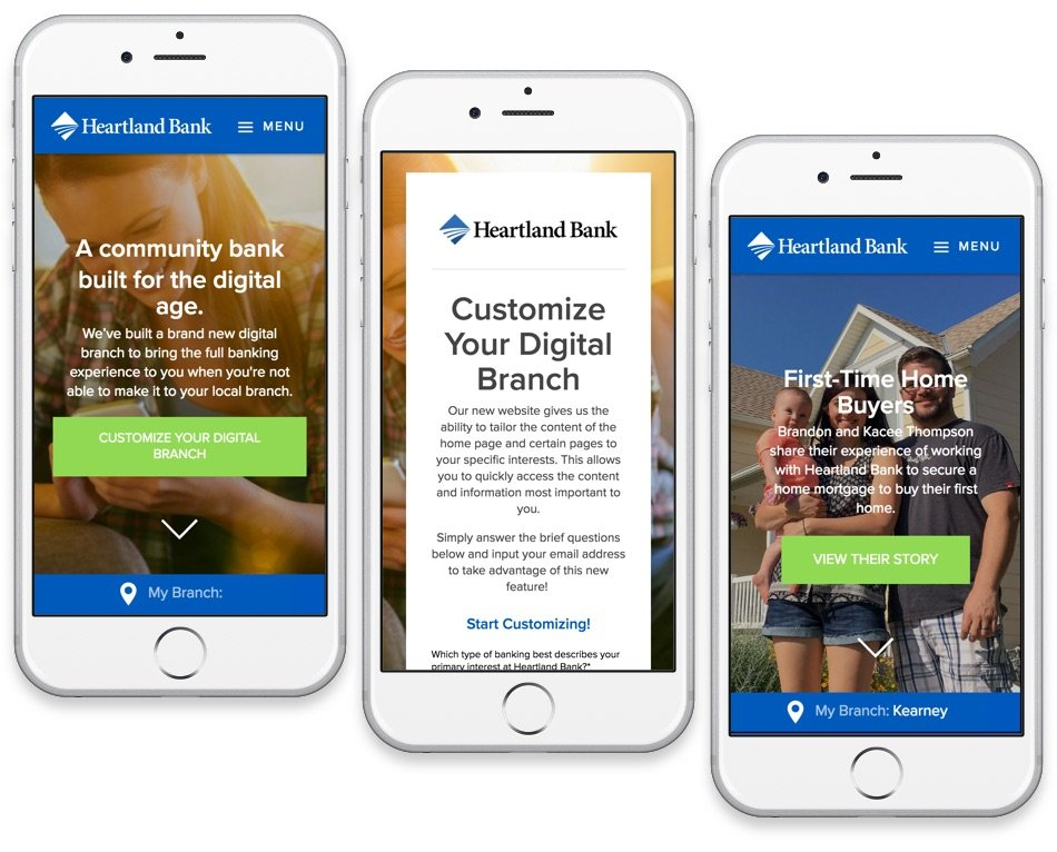 Heartland Bank's Homepage takes advantage of Smart Content