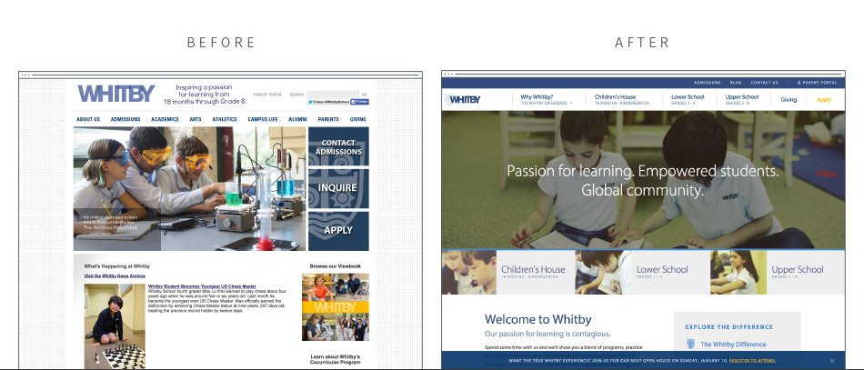 Whitby School's previous and newly designed website