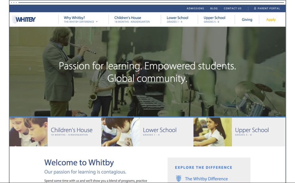 A Custom Website Design for Whitby School