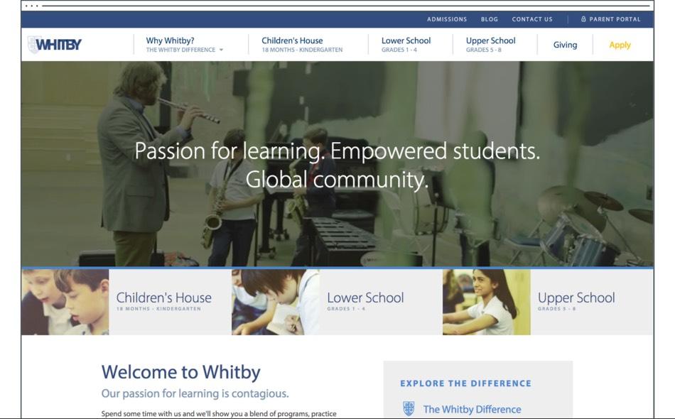 A Custom Website Design for Whitby School