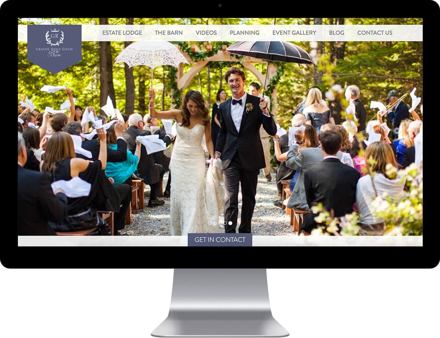 Granite Ridge Estate custom home page design example on a desktop monitor