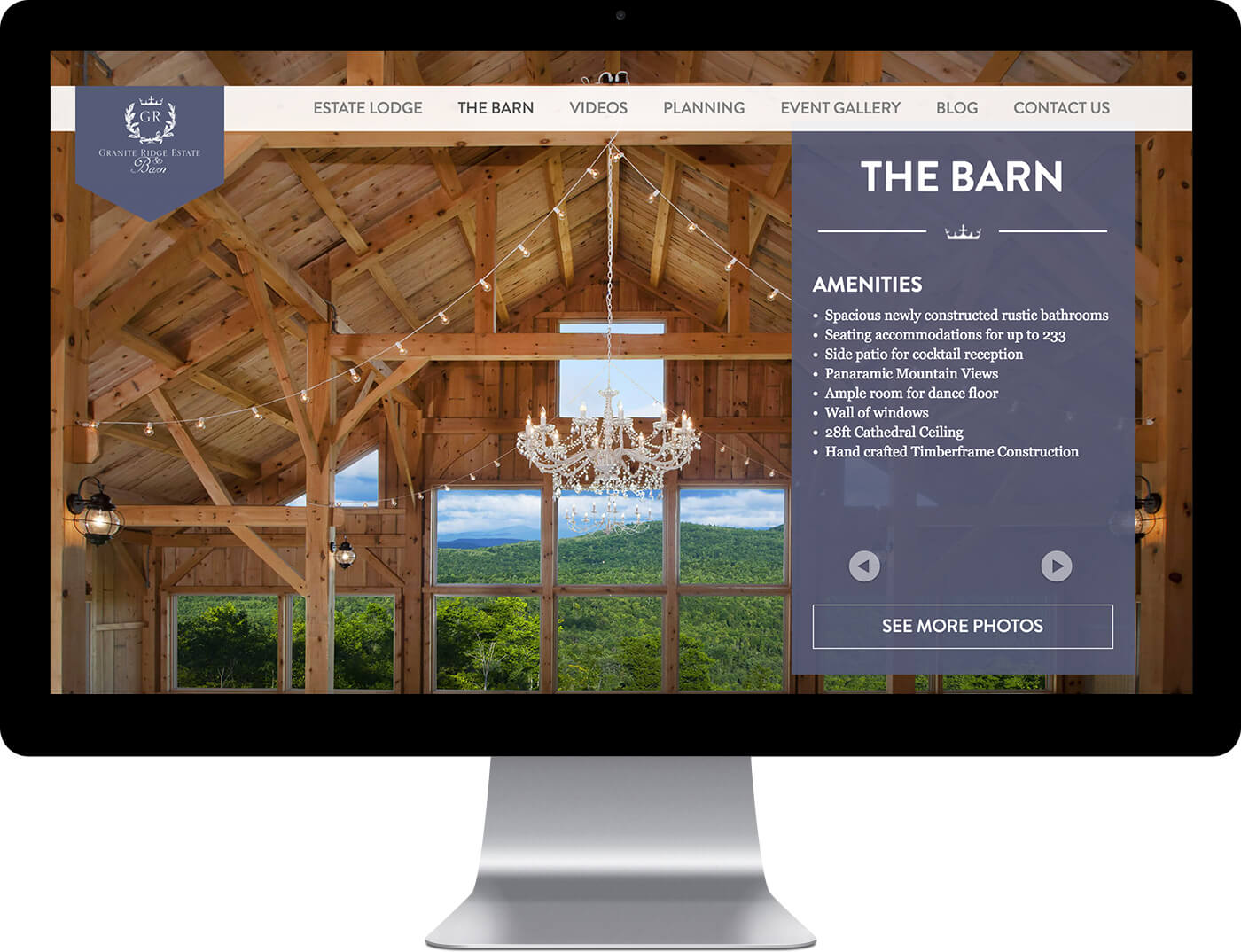 Granite Ridge Estate custom website design example on a desktop monitor