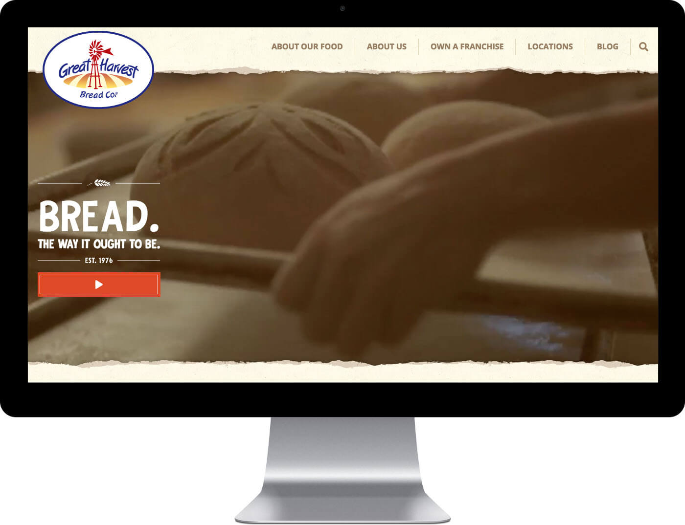 Great Harvest Bread Co's Home page design on a desktop monitor