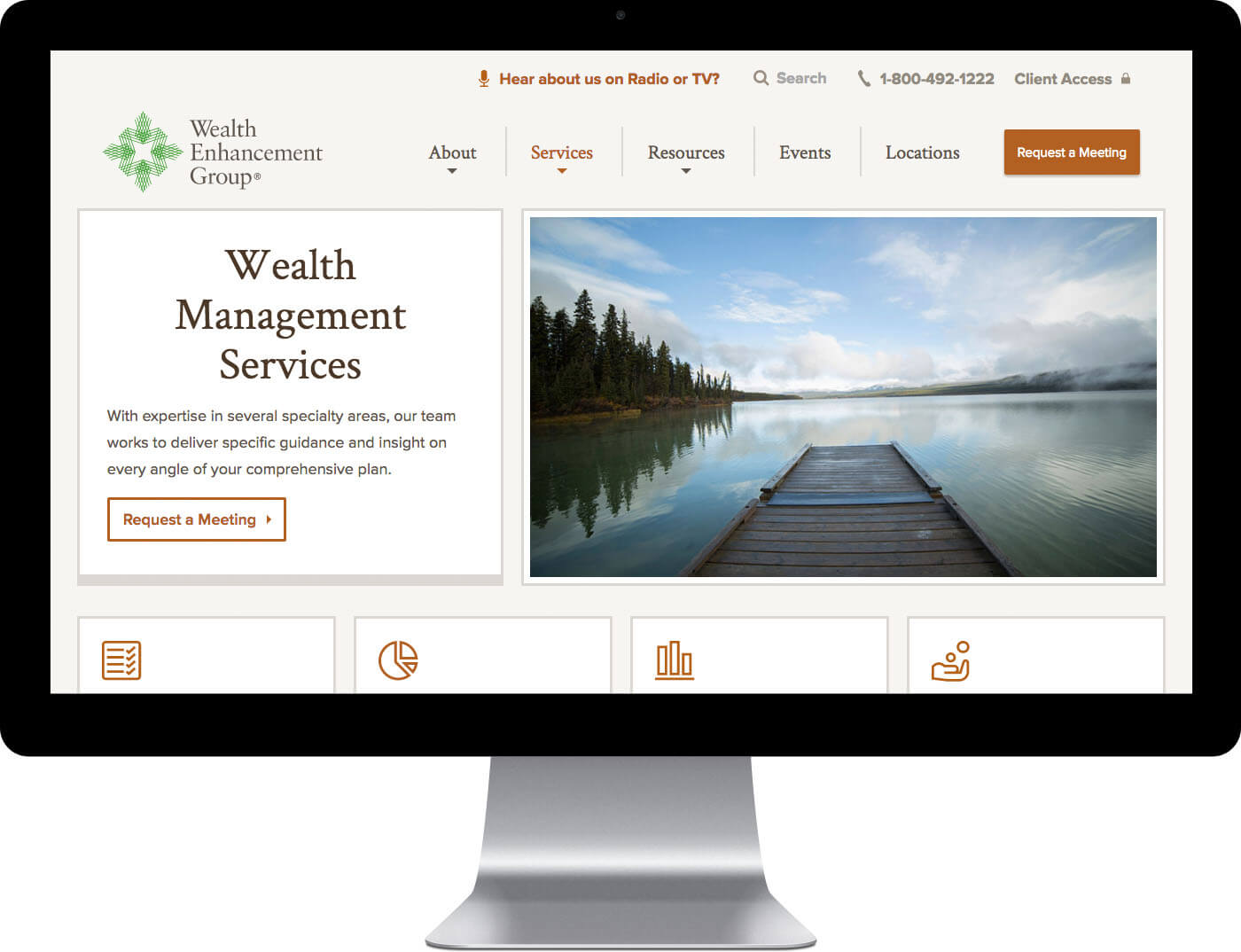 Wealth Enhancement Group Website Design on Desktop Monitor